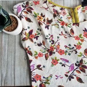 Bobeau Short Sleeve Blouse with Zipper Detail